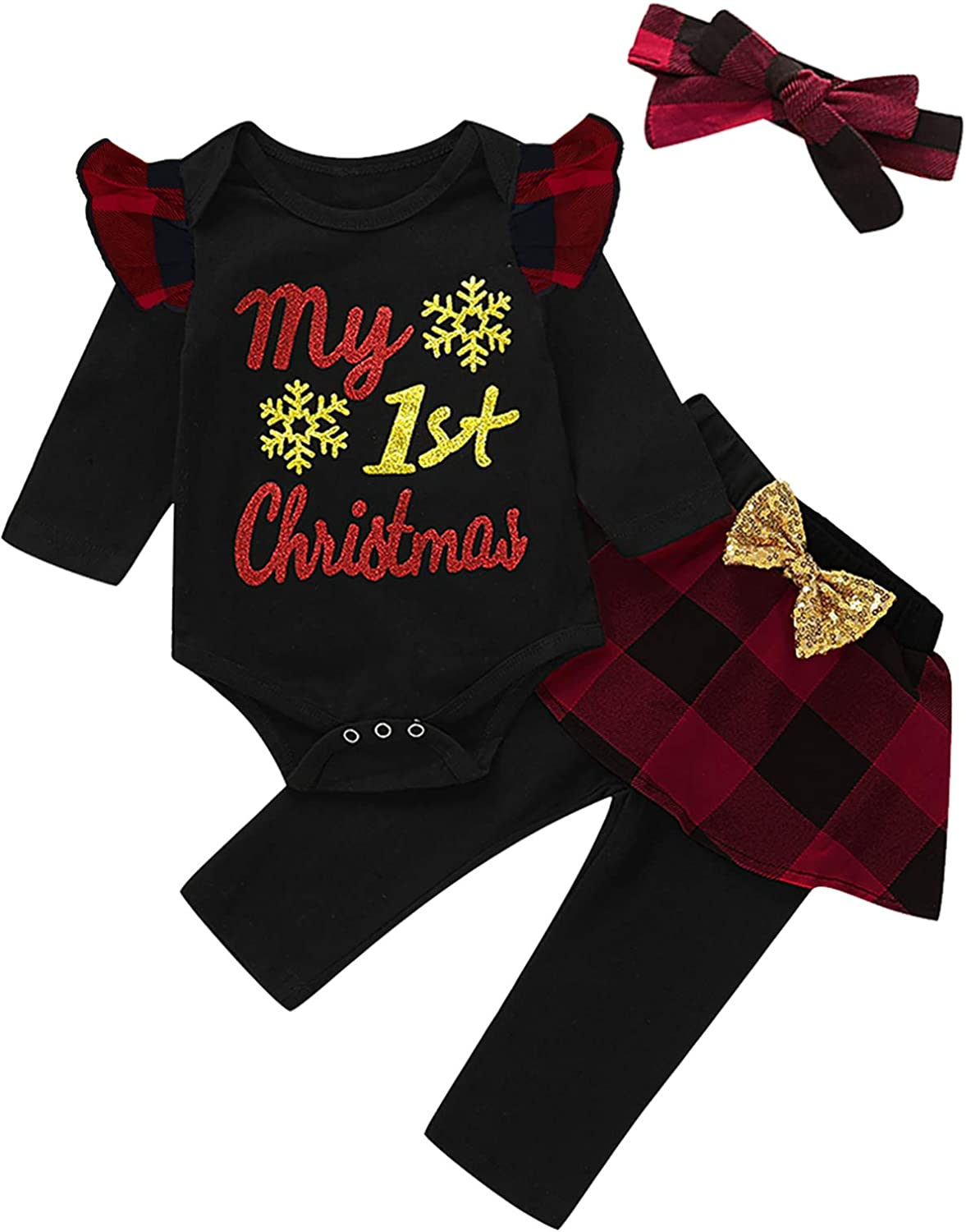 Mutiggee First Christmas Outfit Baby Plaid Pant Cloth Ranking TOP19 Max 41% OFF Girls Xmas