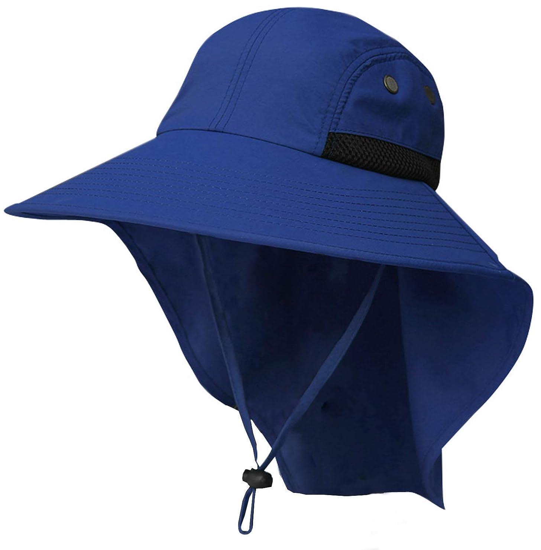 便益順応性ブレイズ日よけ帽子 UVカット 紫外線対策 メンズ 農作業 虫よけ 通気 釣り フェイスカバー フェイスマスク アウトドア 登山 2way ブルー (59-61)
