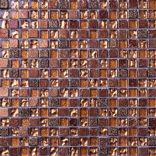 30cm x 30cm Matte Glas und Stein Mosaik Fliesen in gold kupfer braun geprägt (MT0158)