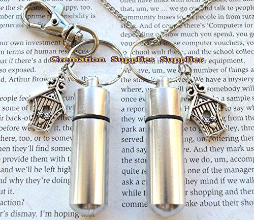 Halskette mit Urnen-Anhänger und Schlüsselanhänger, Vogelhaus-Schmuck – Cremais-Schmuck – Asche Halskette Schmuck – Gedenkschmuck