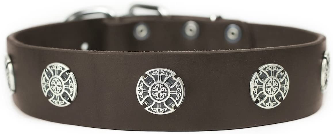 Year-end gift Dean Tyler The Warrior Leather Collar to 20-Inch Dogs Cheap mail order specialty store 16 for