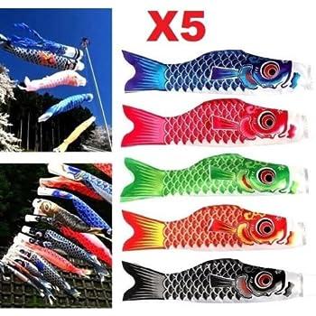 20inch Japanese Windsock Carp Flag Koi Nobori Fish Hanging Sailfish Rainbow