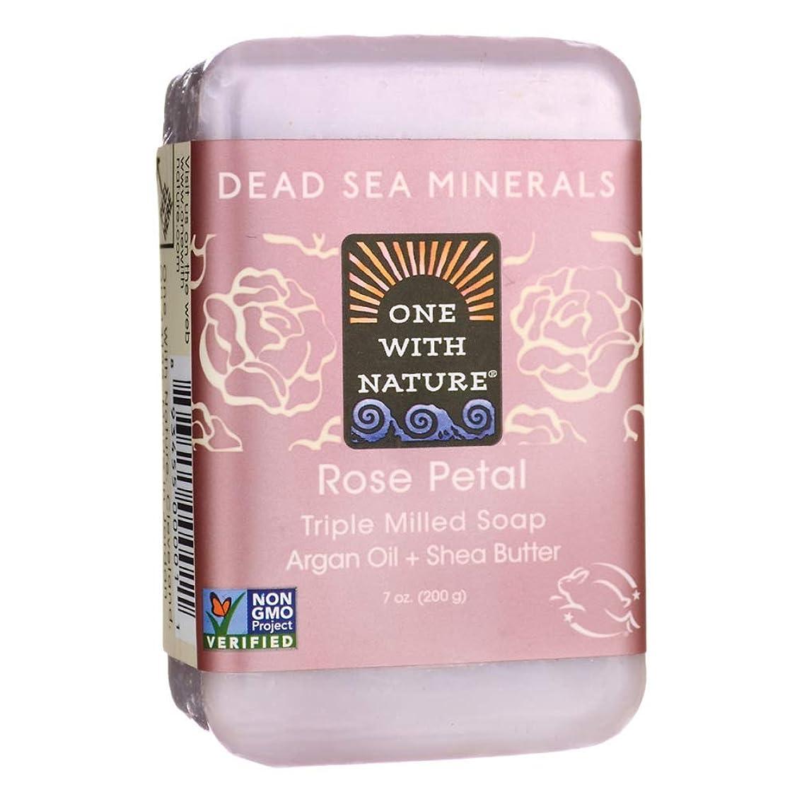 つぶす服を洗う時間とともにDead Sea Mineral Rose Petal Soap - 7 oz by One With Nature