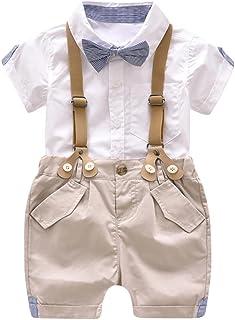 Conjunto para bebé niño, Ropa Bebe Niño Verano Camisa de Manga Corta Bebé Niño Caballero Corbata de moño y Pantalones Cortos de Tirantes Conjuntos bebé Niño