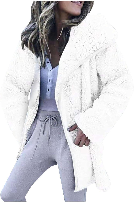 Winter Coats for Women,Womens Faux Plush Big Lapel Jacket Tops Zipper Solid Color Long Sleeve Ladies Fashion Warm Outerwear