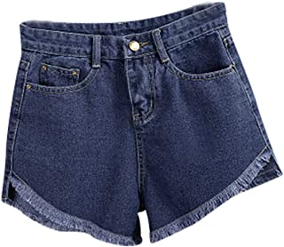 Dunacifa Women's Mid Rise Shorts Pants Summer Solid Frayed Raw Hem Ripped Denim Jean Shorts for Girls