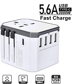 Evershop Travel Adapter, International Universal Power Charger Multi-function All-in-one AC Plug Converter and Adapters for Travel with 5.6 A 4 USB Ports and 3.0A USB Type-C for USA EU UK AUS (White)