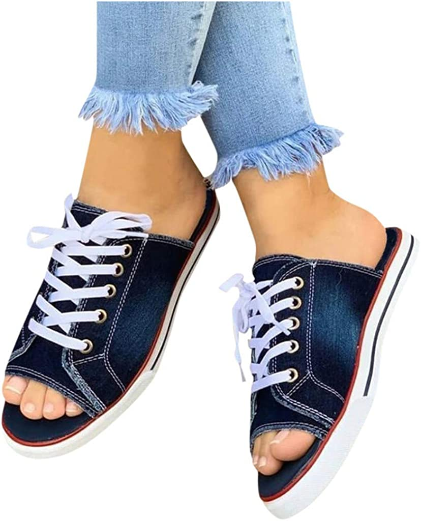 Sunhusing Denim Slippers Womens Casual Lace-Up Walk Sports Shoes