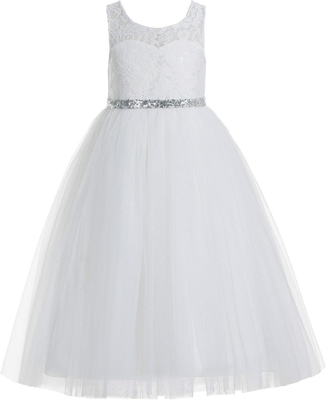 Ivory Floral Lace A-Line Keyhole Back Scoop Neck Flower Girl Dress Bridal 178