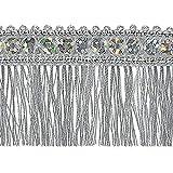 Expo International Esther Sequin Metallic Fringe Trim Embellishment, 10-Yard, Silver