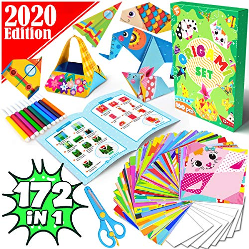 Dinonano Origami Paper Craft Kits for Kids - Arts and Crafts Kit Origami Set Color Folding Papers Book - Japanese Art Hobby for Adults Activity Beginner Age 4 5 6 7 8 9 10 Years Old 132 in 1 (172)