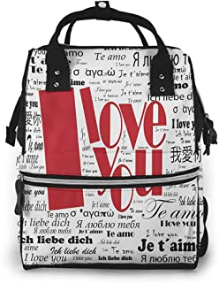 Diaper Bag Backpack Diaper Bag Backpack Nappy Bag I Love You Newspaper Stylized International Valentines Words Contemporary Happy Day Changing Pad