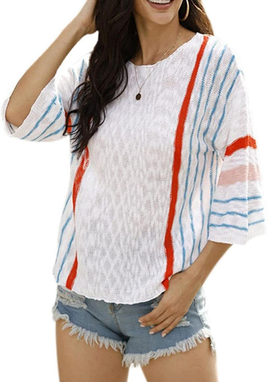 NAVORENDI Womens Casual Boho Las Vegas Mall Free shipping anywhere in the nation Sweater Block Bell Striped Color Sl