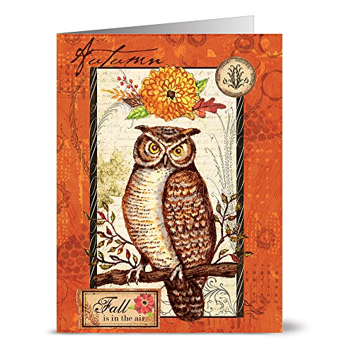 Note Card Cafe Fall Cards with Kraft Envelopes | 24 Pack | Blank Inside, Glossy Cover | Autumn Owl Design | Set for Holidays, Fall, Autumn, Greeting Cards, Thank You Notes, Thanksgiving