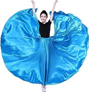 SANCAN Women's 540 Degree 20 Yard Swing Wing Long Satin Skirt for Dance Performance Practise Halloween Cosplay Costume Length