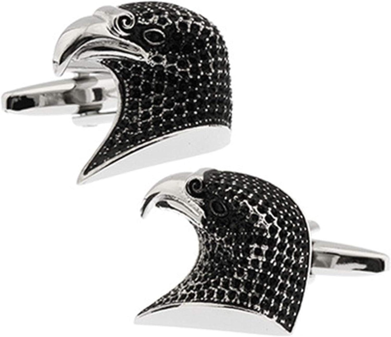 Daesar Cufflinks for Shirts Men's Cufflinks and Studs Eagle Head Black Cuff Links and Studs