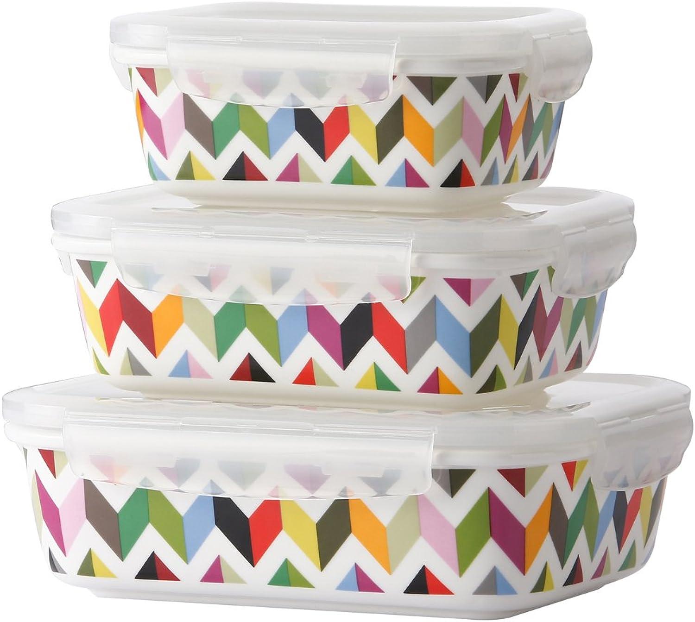 French Bull 3 Piece Porcelain Food Storage Container Set - Lunch, Airtight - Ziggy B00U007GVQ | Billiger als der Preis