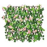 Valla de madera con hoja de hiedra artificial, con setos retráctiles en expansión del vallado de enrejado con flores de privacidad para jardín