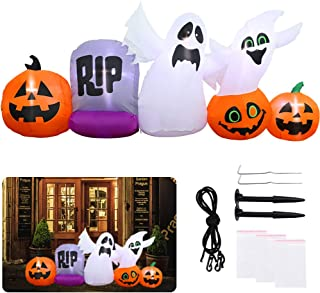 Brobery 7ft Long Inflatable Halloween Pumpkins Decoration - Blow up Pumpkin with Tombstones, Ghost with Internal Lights for Halloween Party Garden Yard Indoor and Outdoor Decorations