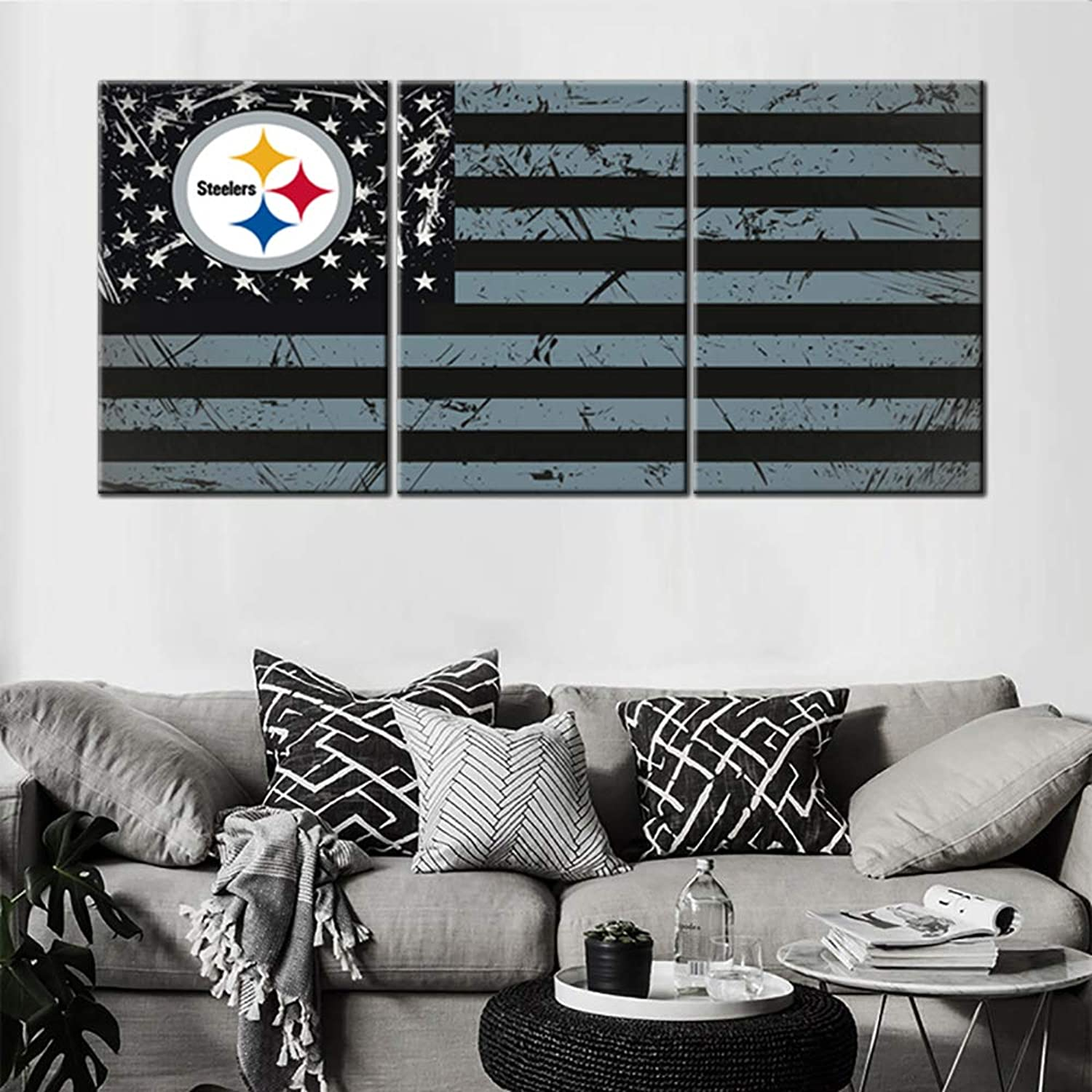 Living Room Modern Pictures American Steelers Flag Painting Red Black Stripes Wall Art 3 Piece Premium Quality Artwork on Canvas Home Decor Framed Ready to Hang Posters and Prints(60''Wx28''H)