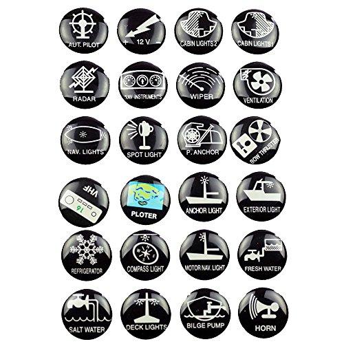 wellenshop 24 Schaltsymbole Symbol Aufkleber für Schalter Boot Schaltpaneel Schalttafel Schaltertafel