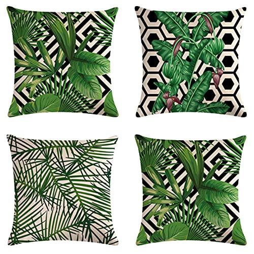 JOVEGSRVA Juego de 4 fundas de cojín de hojas tropicales, impermeables, para patio, jardín, banco, sala de estar, sofá, decoración de 45 x 45 cm