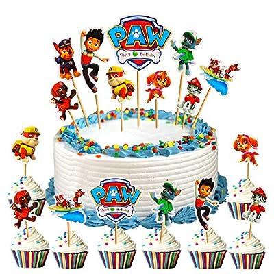 WELLXUNK® Decoración de Magdalenas, 45 Piezas Topper de Tarta Decoración para Pasteles de Paw Dog Patrol, Cumpleaños DIY Decoración Suministros, Cake Topper, Fiesta de Cumpleaños de DERUO