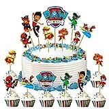WELLXUNK Decoración de Magdalenas, 45 Piezas Topper de Tarta Decoración para Pasteles de Paw Dog Patrol, Cumpleaños DIY Decoración Suministros, Cake Topper, Fiesta de Cumpleaños