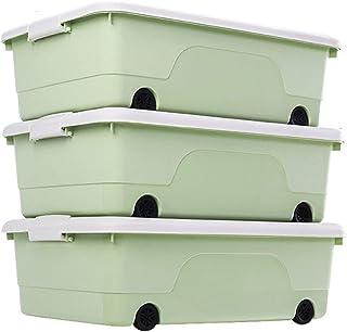 ZCED 3 Boite De Rangement Plastique sous Lit avec roulettes Top Box Solide Et Empilable Boîtes Organiseurs pour Les vêteme...