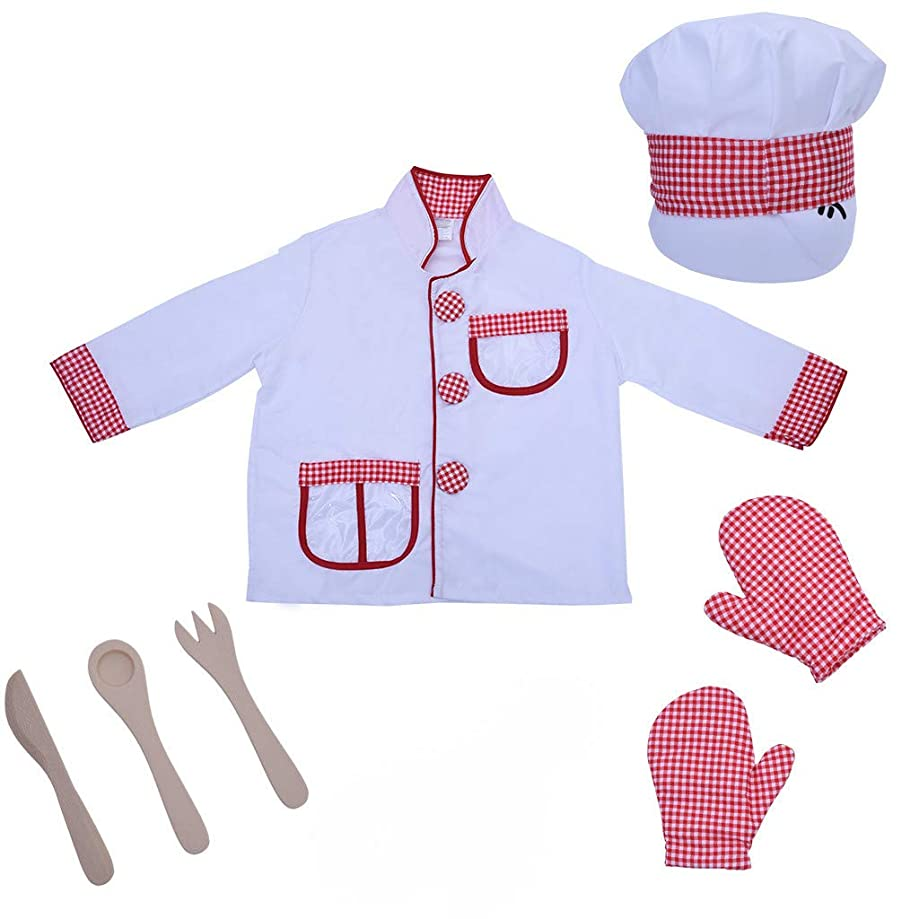 Lcyus Chef Role Play Costume, Kitchen Cooking Dress Up Clothes Hat Pretend Play Set with Realistic and Functional Accessories for Kids, Toddlers, Boys, Girls (As Show)