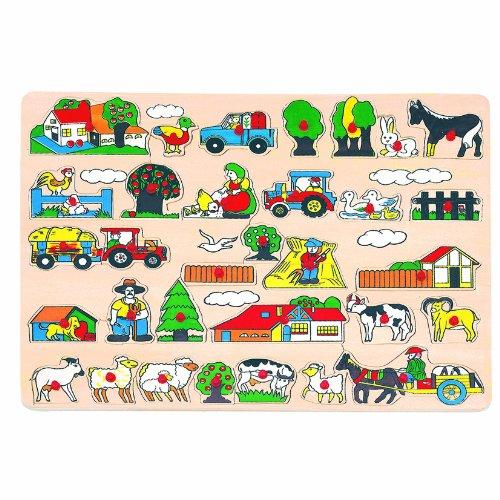 Bino & Mertens 88073 Steckpuzzle Bauernhof, Spielzeug für Kinder ab 3 Jahre, Kinderspielzeug (Maxi-Holzspielzeug mit Bildern rund um den Bauernhof, unterschiedliche Formen und Gestalten, besonders groß), Mehrfarbig