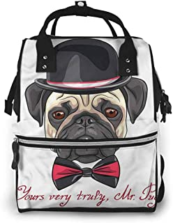 Diaper Bag Backpack Changing Pad, Pug Hipster Frowning Dog Sketch, Large Capacity, Waterproof and Stylish