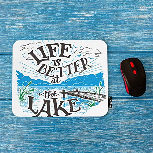 Mugod Lake House Sign Mouse Pad Life is Better at The Lake Lakeside Living Cabin Decor Gaming Mouse Pad Rectangle Non-Slip Rubber Mousepad for Computers Laptop 7.9x9.5 Inches