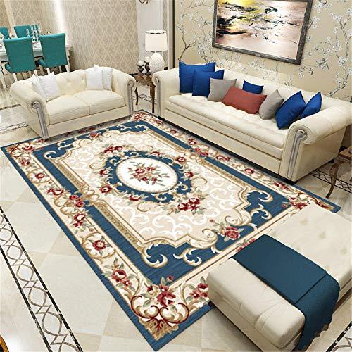 Alfombra Antiacaros Salon azul Alfombra de salón azul vintage estampado floral suave alfombra de mesa duradera Alfombra Antideslizante El 180X260CM Alfombras Juveniles Habitación 5ft 10.9''X8ft 6.4''