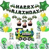 MMTX Decoracion Cumpleaños Globos de Feliz Cumpleaños Primer Cumpleaños Niño 1 año con Guirnalda Cumpleaños, Tractor Tren Bomberos Globo de Aluminio, Suministros para Fiestas de Tractor