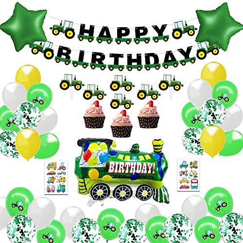 MMTX Traktor Kinder 2 Jahre Happy Birthday Deko Luftballons Geburtstagsdeko Jungen 1 Jahr mit Happy Birthday Girlande mit Folienballon für Babyshower Boy 3 5 10 Kindergeburtstag Dekoration