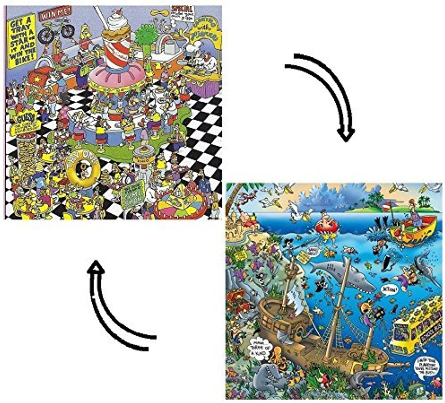 Pieceless Puzzle  School Cafeteria Extreme  and  Sunken Treasure ; 2Sided Jigsaw Puzzle