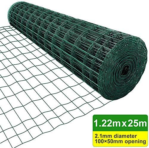 Amagabeli 1.22M X 25M Drahtzaun Gartenzaun Grünen Maschenweite 50 x 100mm Drahtgitter-Rolle Gartenzaun RAL6005 Kaninchendraht Metall Drahtg HC04