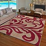 B&B Alfombra grande para sala de estar, antideslizante, lavable, suave, tejido de polipropileno, diseño geométrico, grande, 160 x 230 cm, color beige y rojo