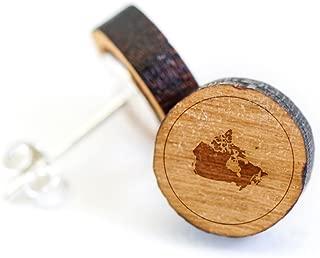 Wooden Stud Earrings With Canada Laser Engraved Design - Premium American Cherry Wood Hiker Earrings - 1 cm Diameter