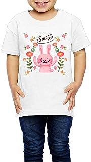 かわいいウサギの水彩画の花の背景 子供服 キッズ 半袖 Tシャツ 綿100% 2 Toddler