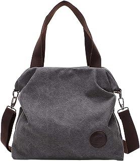 PB-SOAR Damen Canvas Tasche Schultertasche Handtasche Umhängetasche Shopper Beuteltasche 41x36x10cm B x H x T, 5 Farben auswählbar Grau
