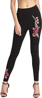 Women's Embroidered Flower High Waist Skinny Ankle Leggings Pants