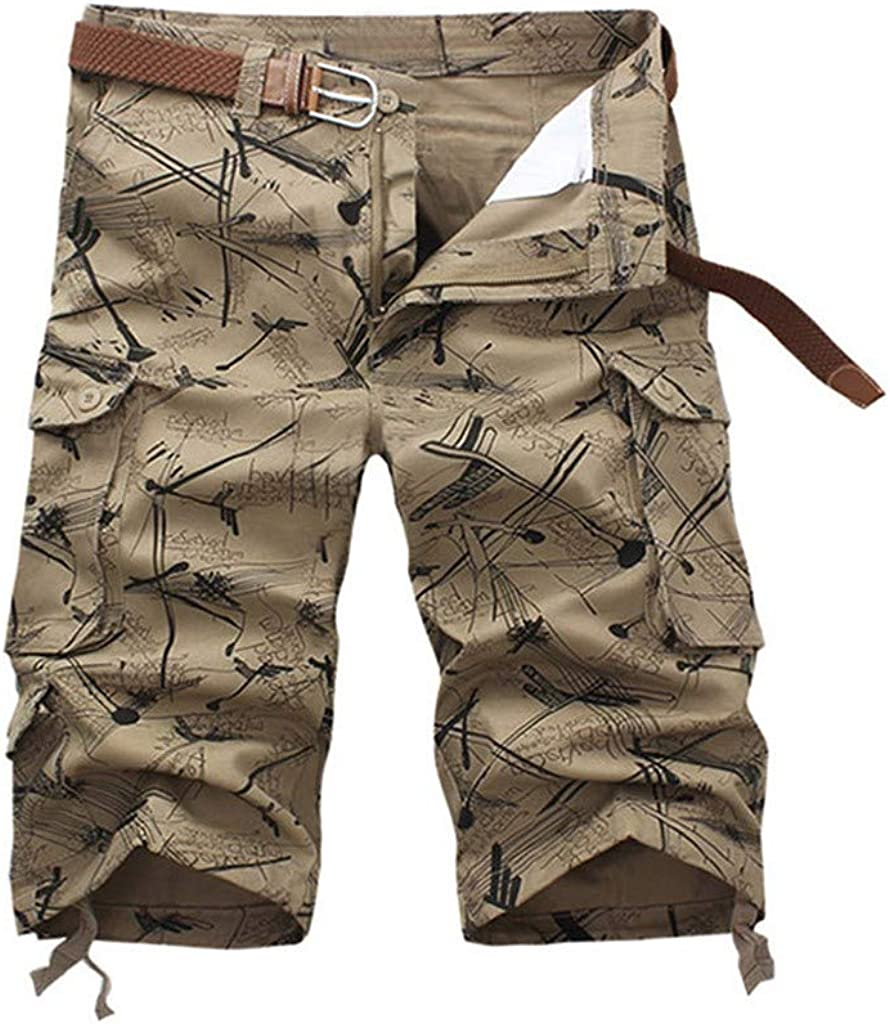 Cargo Shorts Forthery Men's Summer Floral Print Relaxed Fit Multi-Pocket Beach Work Trouser Cargo Shorts Pant