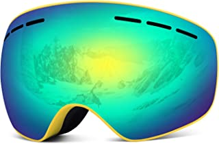 Rhino Valley Frameless Ski Goggles, Dual Lens Wind Resistance Snow Eyewear with Anti-Fog UV Protection for Skiing Skating Motorcycle Cycling & Winter Snow Outdoor Sports Fit Men Women Youth & Skier