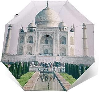 Taj Mahal India Windproof Automatic Tri-fold Umbrella Sun UV Protection Sun Umbrella