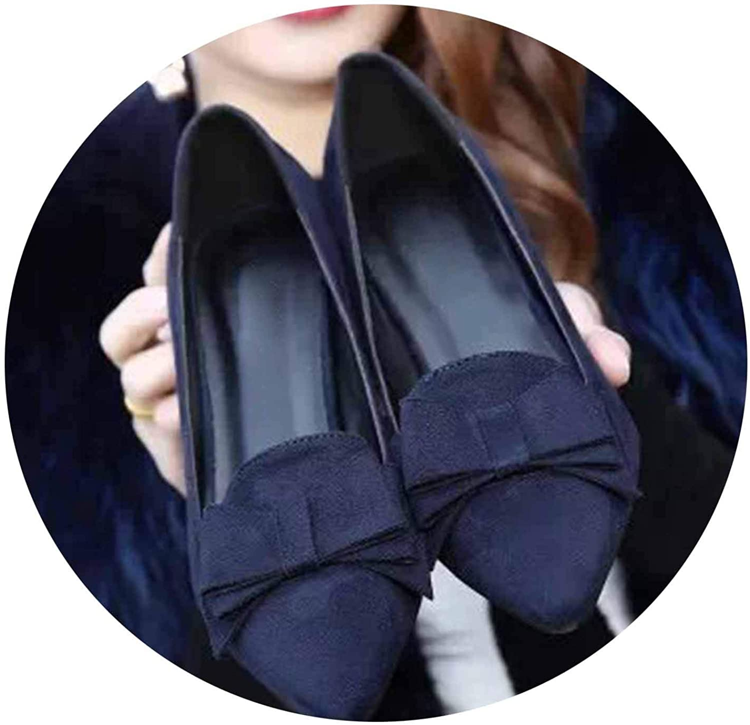 Women High Heel shoes Suede Pumps Bowtie Slip On Boat shoes Office Pointed Toe