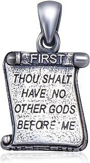 """925 纯银 Judaica 吊坠海卷轴形状带神圣文字""""You shall have no other gods before Me"""""""