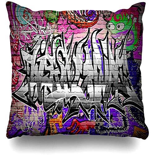 Federa per cuscino Graffiti Graffiti Muro Urbano Colore naturale Mattone Incredibile Graffitti Street Disegno astratto Federa per cuscino Hop Decorazioni per la casa Design Quadrato Dimensioni 45x45cm (18In) Federa