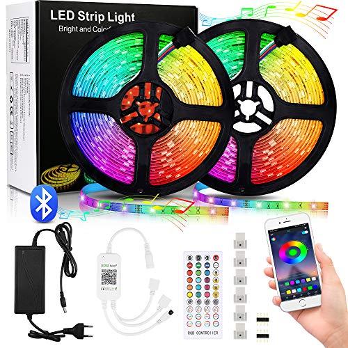 Vivibel LED Strip 10M, RGB Farbänderun LED Streifen 5050SMD 300 LED Band steuerbar via App und Fernbedienung, Sync mit Musik, LED Strips Lichterkette Selbstklebend für Innendekoration